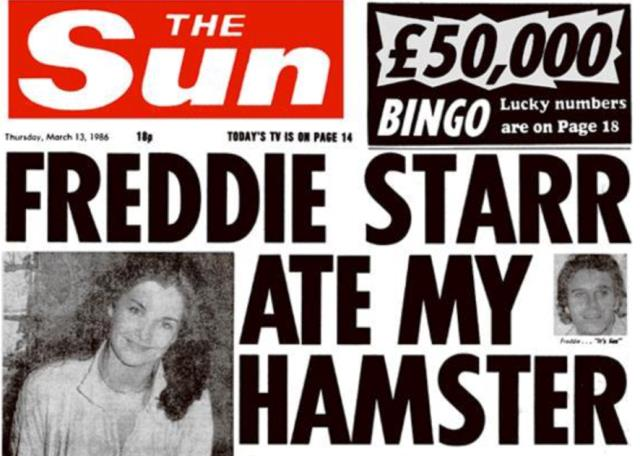 Headline in The Sun, Thursday 13 March 1986